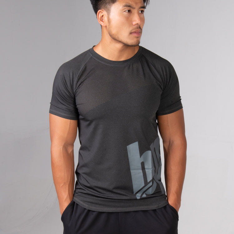 BPI Sports mens black and grey performance t-shirt