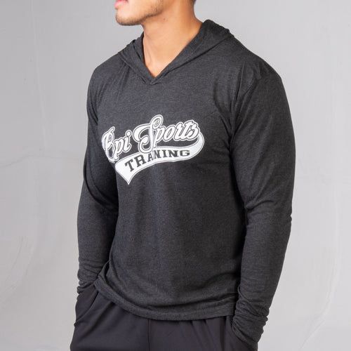 side profile of the black BPI Sports Training long-sleeve hoodie