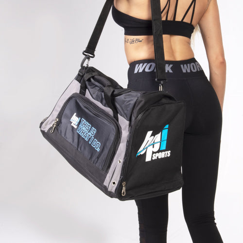 woman carrying the BPI Sports duffle bag