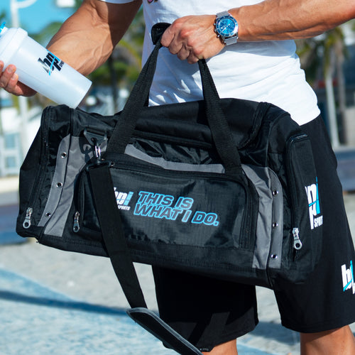 BPI Sports duffle bag with shaker