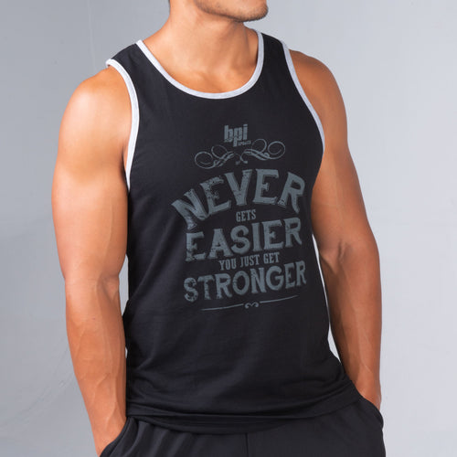 Side profiel of man wearing the dark BPI Sports You Get Stronger Tank Top