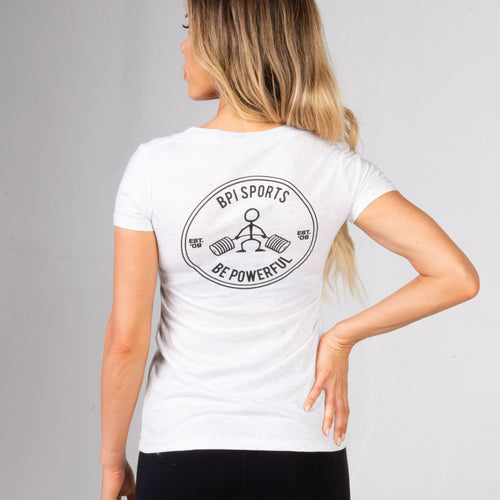 Back of the BPI Sports Ladies Be Powerful V-Neck t-shirt in white