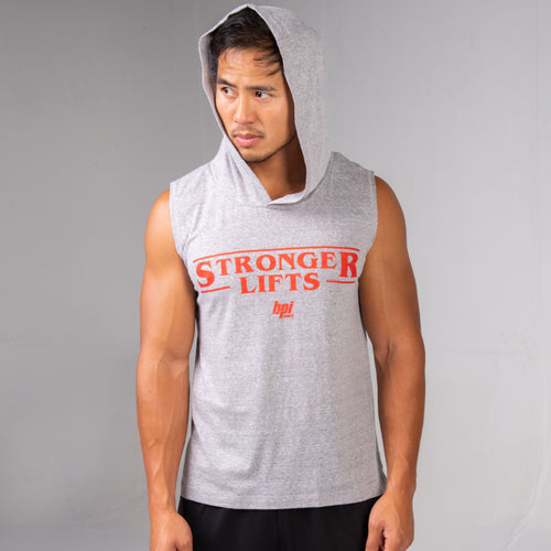 Man wearing the BPI Sports Stronger Lifts Sleeveless Hoodie with hood up