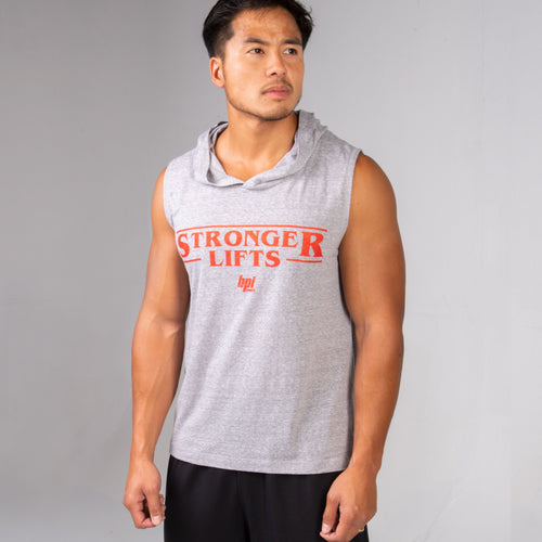 Side profile of man wearing the BPI Sports Stronger Lifts Sleeveless Hoodie