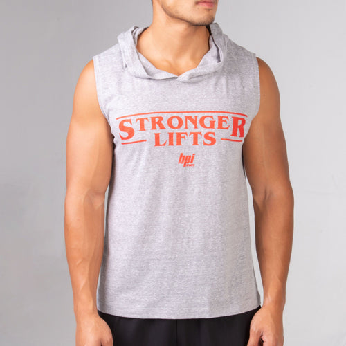 BPI Sports Stronger Lifts Sleeveless Hoodie in grey with red letters