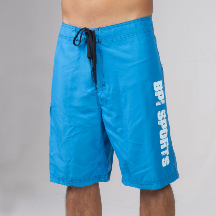 BPI Sports Swim Trunks in blue with white lettering