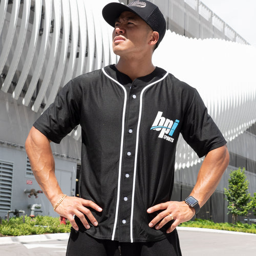 Man wearing the BPI Sports Team BPI Baseball Jersey outside