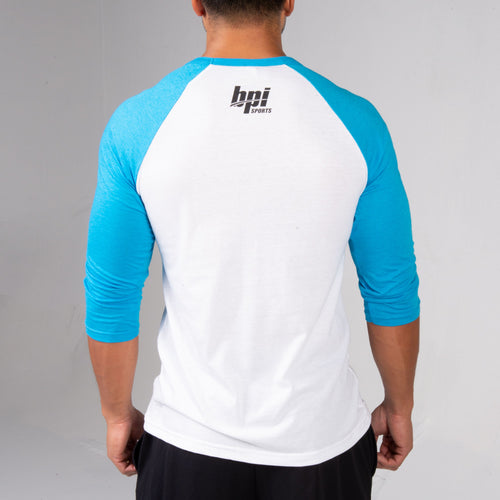 Back of the BPI Sports Team BPI Unisex Baseball Tee where you can see the BPI Logo