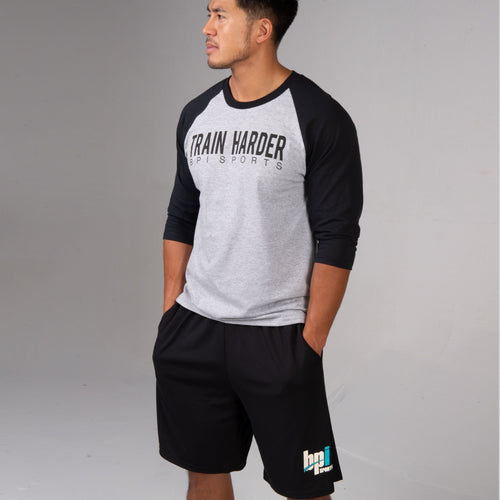 BPI Sports Train Harder Baseball Long Sleeve Shirt