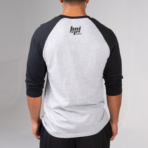 Back of the BPI Sports Train Harder Baseball Shirt for men and women
