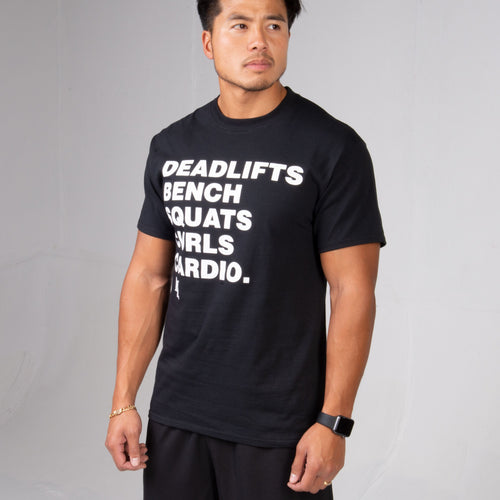 Side profile of man wearing the black BPI Sports Workout List T-shirt