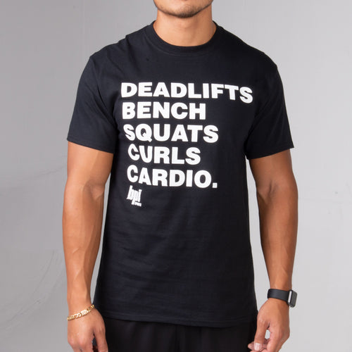 BPI Sports Workout List Tee in black with white words and logo