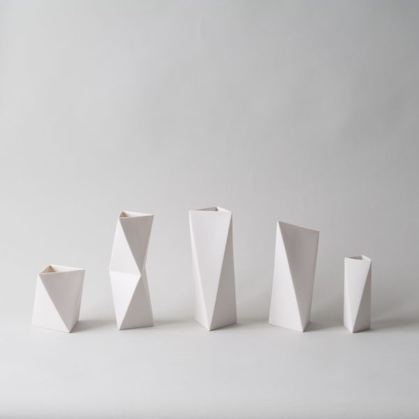 Triangle Mini Porcelain Vase. Cut&Fold