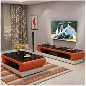 Han Angel Shops Natural Designer Glass Leather Coffee Table