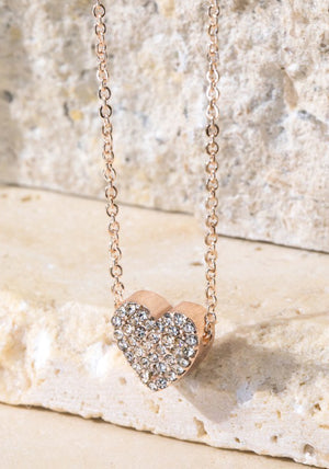 Dainty Rhinestone Heart Necklace