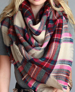 Fuschia Multi Blanket Scarf