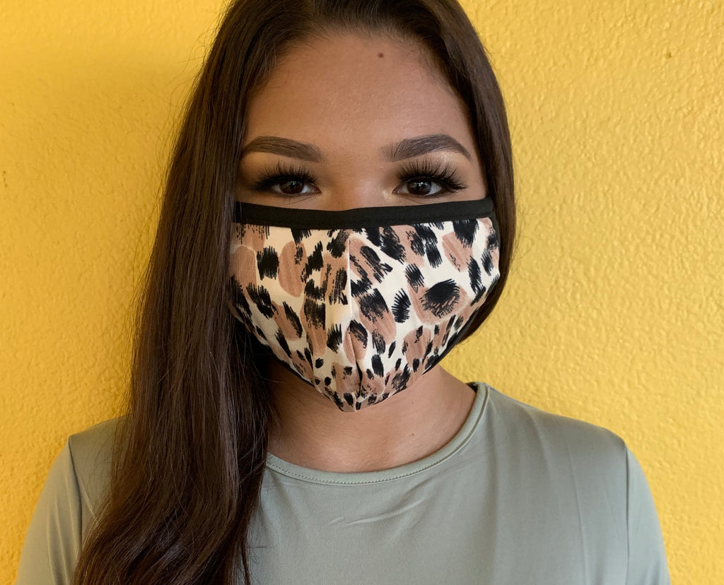 Khaki Black Leopard Mask