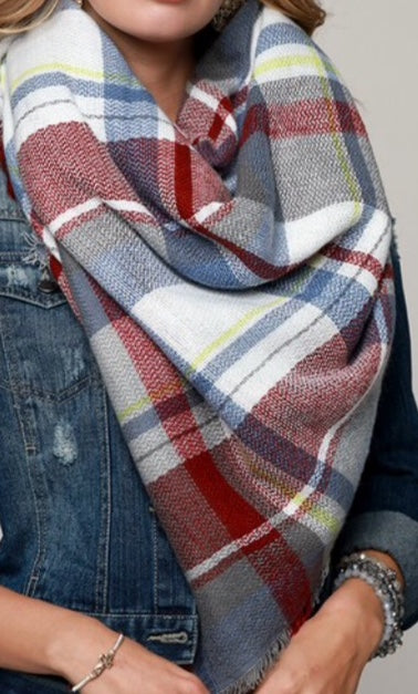 Light Blue Multi Blanket Scarf