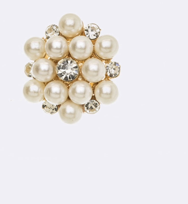 Pearl Cluster Clip-on Earrings