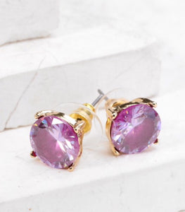 Colored Stone Stud Earrings