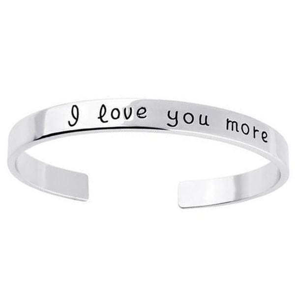 18k Gold Plated - I Love You More Bangle - White Gold - SoTrendify