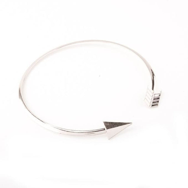 Arrow Feather Chain Choker Necklace - Silver / one-size - SoTrendify