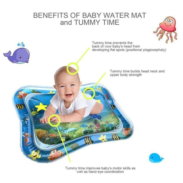 Baby Water Mat - Tummy Time Activity Water Mat - Baby Inflatable Water Play Mat - SoTrendify