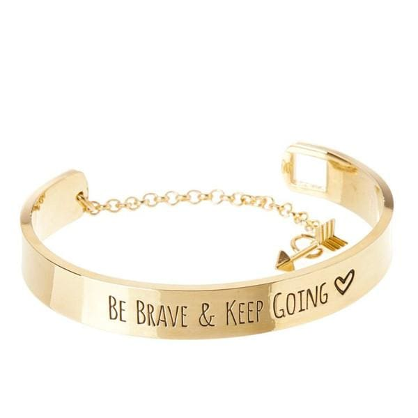 Be Brave & Keep Going Engraved Bangle Bracelet - Gold - SoTrendify
