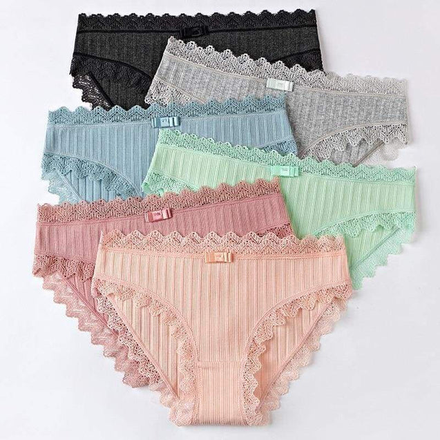 Cotton Panties Female Striped Breathable Hollow Underwear - SoTrendify