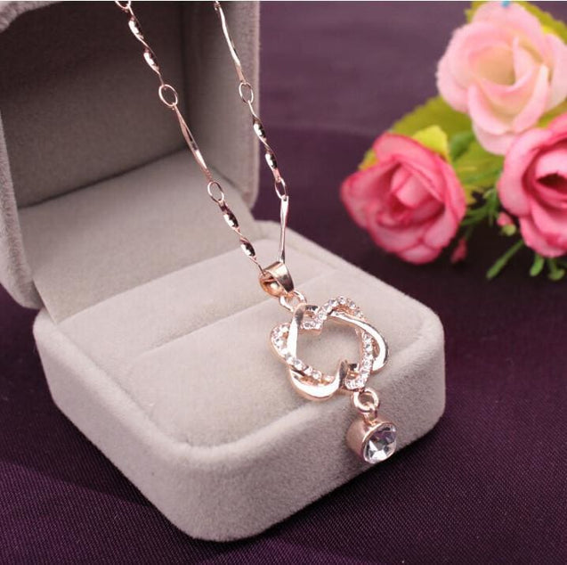 Double Heart Pendant Necklace Chain Jewelry - SoTrendify