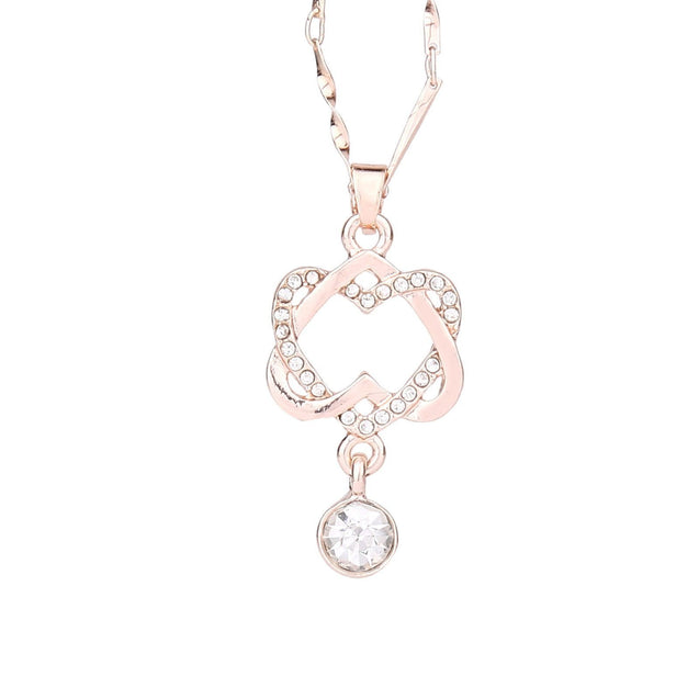 Double Heart Pendant Necklace Chain Jewelry - Rose Gold - SoTrendify