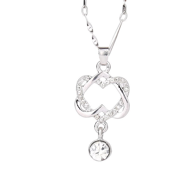 Double Heart Pendant Necklace Chain Jewelry - Silver - SoTrendify