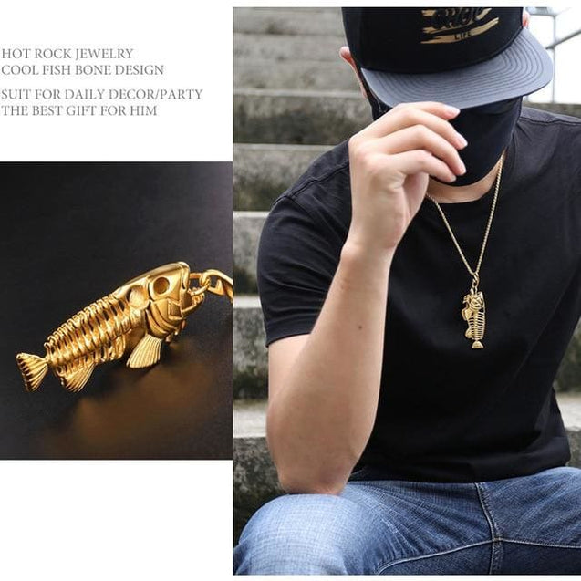 Fish Bone & Fishing Hook Skeleton Stainless Steel Surfer Chain Necklace - GD - SoTrendify