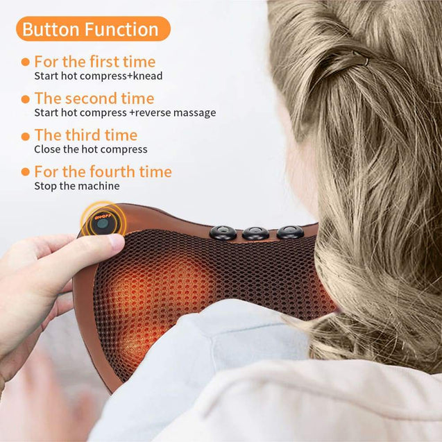 Heated Electric Massage Pillow - Infrared Massage Pillow - SHIATSU Neck Back Massager - SoTrendify