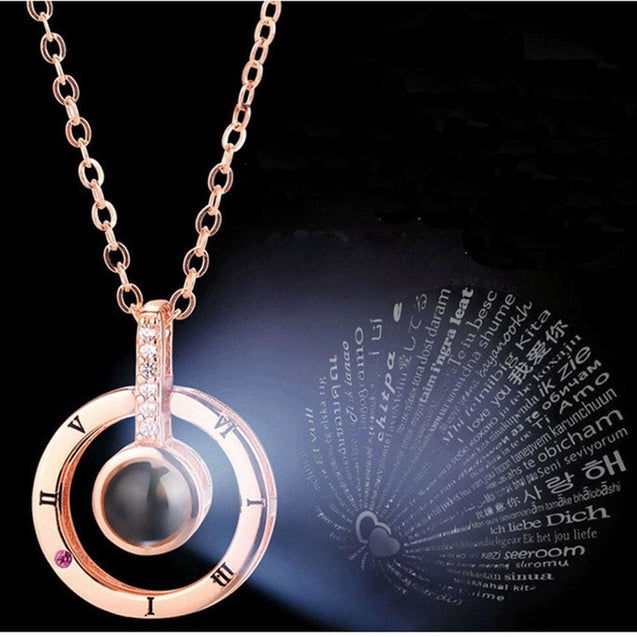 Round Shaped I LOVE YOU In 100 languages Projection Necklace For Memory Of LOVE - SoTrendify