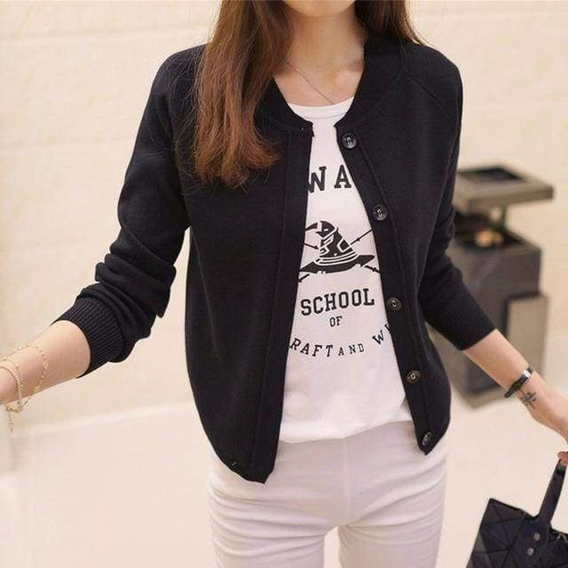 Korean Sweater Cardigan - balck / M - SoTrendify