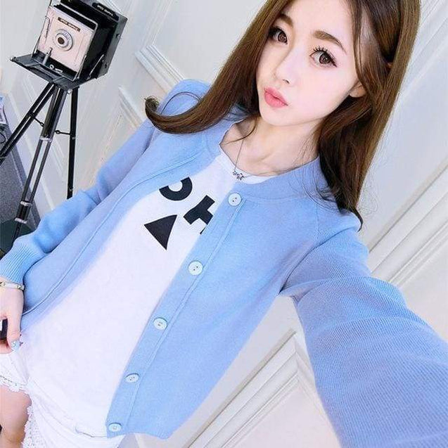 Korean Sweater Cardigan - blue / S - SoTrendify