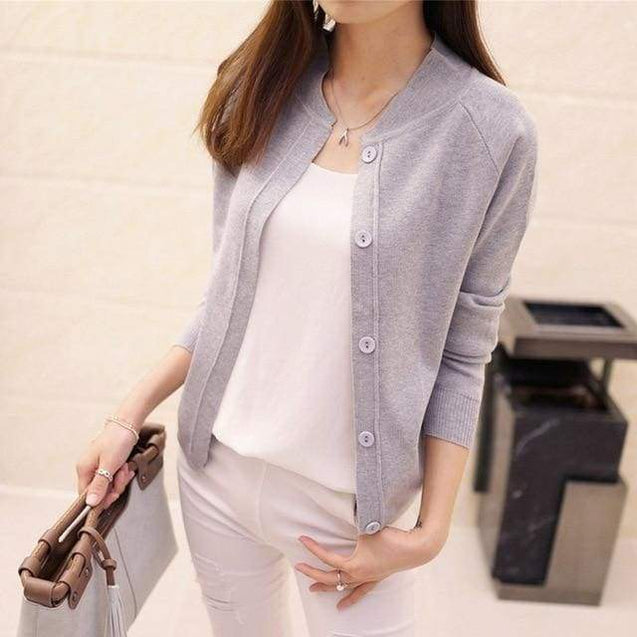 Korean Sweater Cardigan - gray / M - SoTrendify