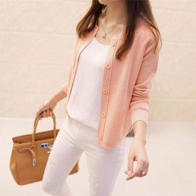 Korean Sweater Cardigan - pink / S - SoTrendify