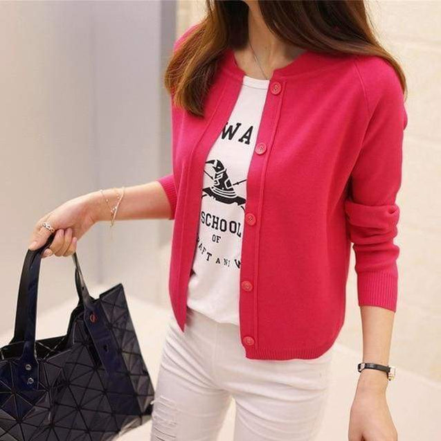 Korean Sweater Cardigan - red / S - SoTrendify