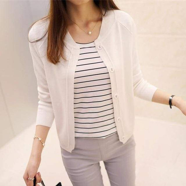 Korean Sweater Cardigan - white / L - SoTrendify