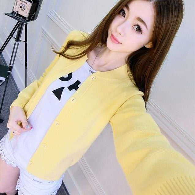 Korean Sweater Cardigan - yellow / L - SoTrendify