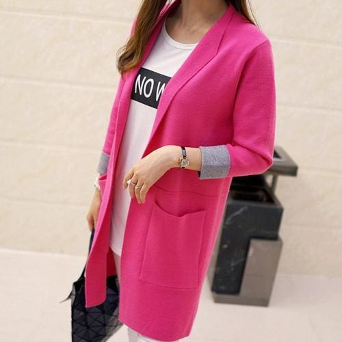 Long Sleeve Cardigan Sweater - rose red / L - SoTrendify