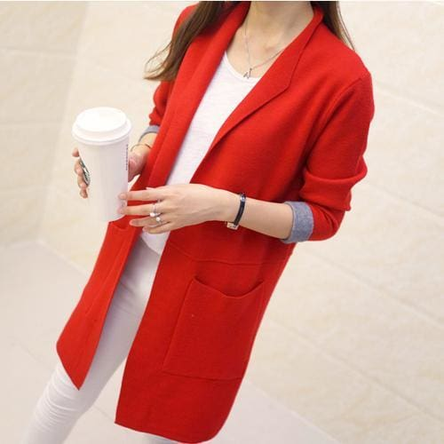 Long Sleeve Cardigan Sweater - Red / L - SoTrendify