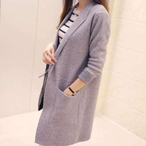 Long Sleeve Cardigan Sweater - Gray / L - SoTrendify