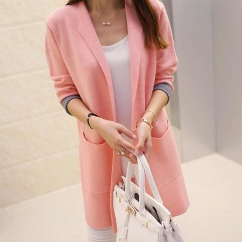 Long Sleeve Cardigan Sweater - Pink / L - SoTrendify