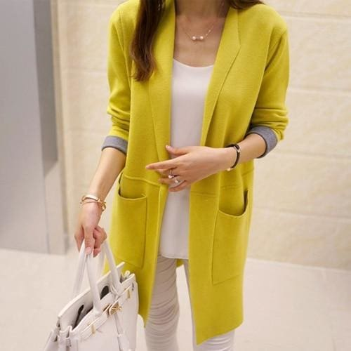 Long Sleeve Cardigan Sweater - Yellow / L - SoTrendify
