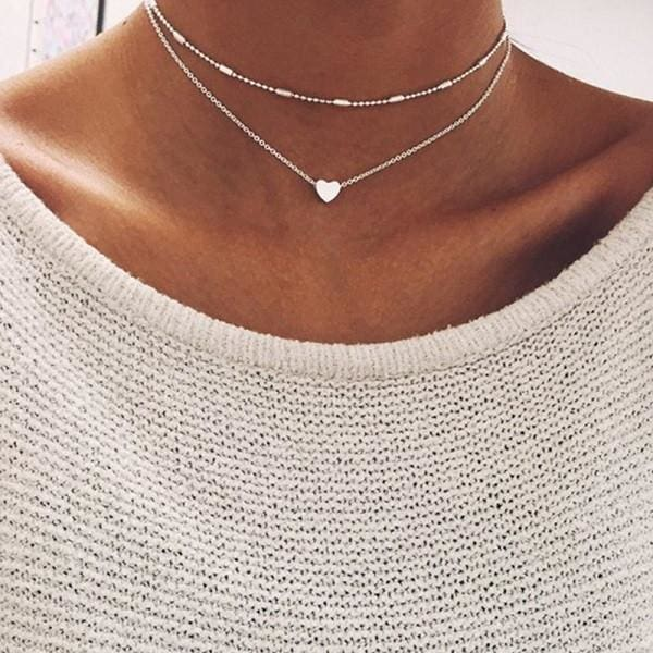 Love Heart Necklaces Double Chain Choker Necklace - SoTrendify