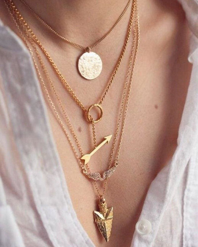 Multilayer Irregular Crystal Gold Necklace - SoTrendify
