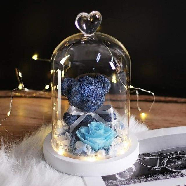 New Teddy Bear Rose Flowers In Glass Valentines Day Gifts - blue - SoTrendify